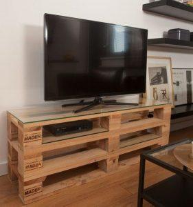 میز تلویزیون با پالت چوبی
